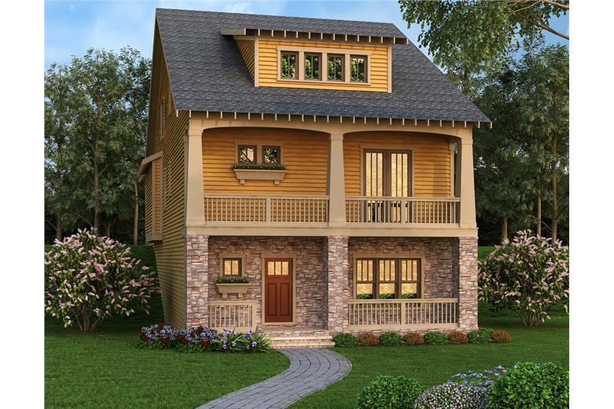 3-Bedroom, 3241 Sq Ft Coastal House Plan - 104-1184 - Front Exterior