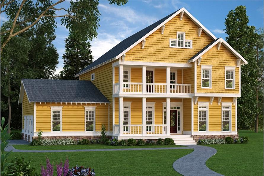 Front elevation of Craftsman home (ThePlanCollection: House Plan #104-1190)