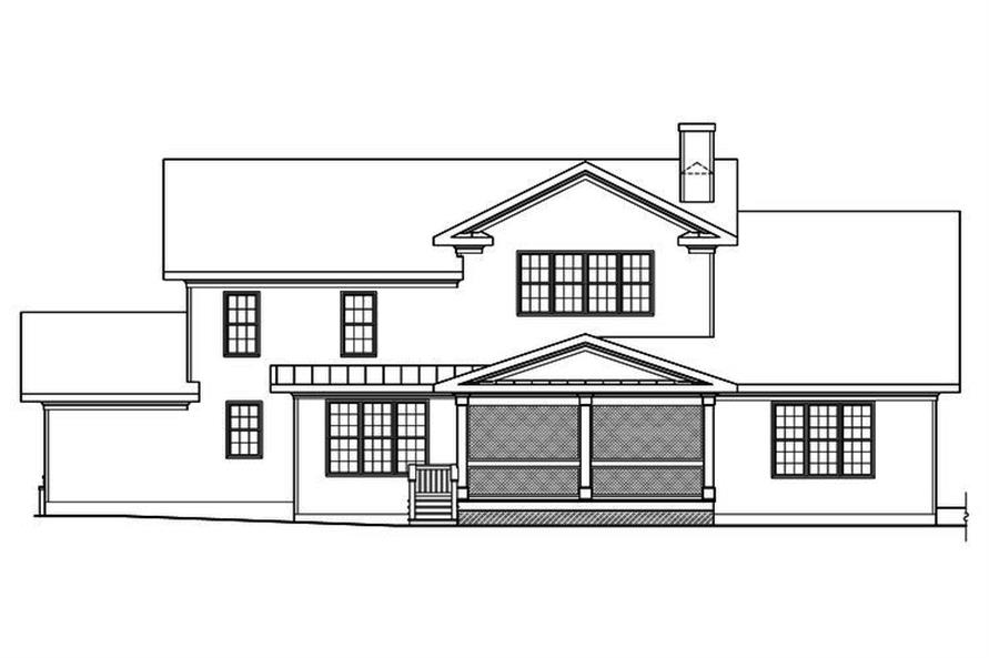 Home Plan Rear Elevation of this 5-Bedroom,4061 Sq Ft Plan -104-1192