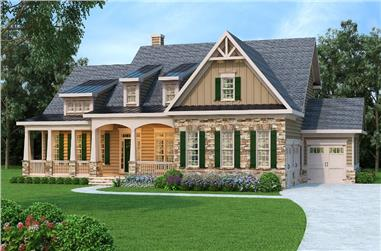 Front elevation of Cape Cod home (ThePlanCollection: House Plan #104-1192)