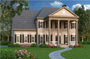 Front elevation of Colonial home (ThePlanCollection: House Plan #104-1193)