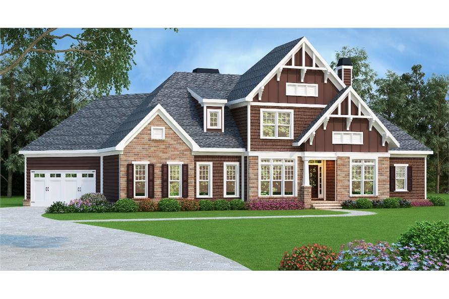 Front elevation of Craftsman home (ThePlanCollection: House Plan #104-1196)