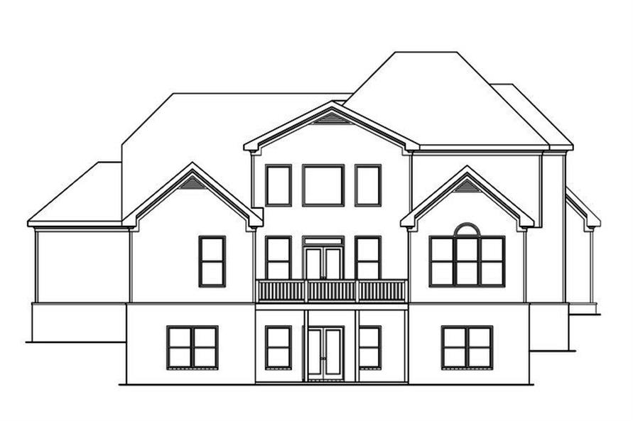 Home Plan Rear Elevation of this 4-Bedroom,4388 Sq Ft Plan -104-1198