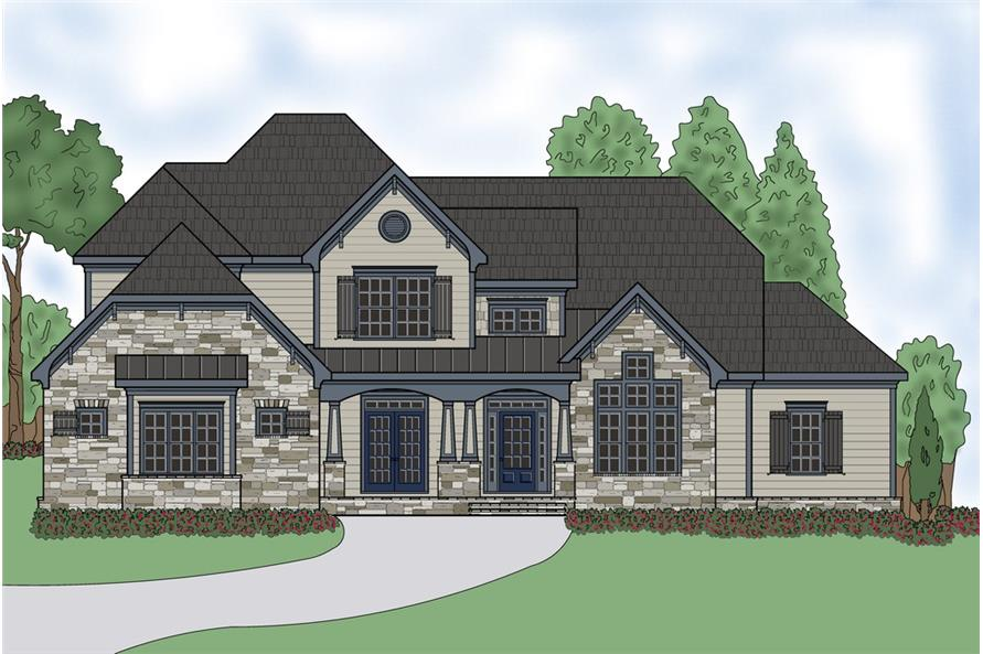 Front elevation of Craftsman home (ThePlanCollection: House Plan #104-1198)