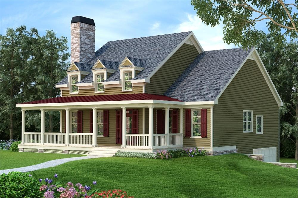 Front elevation of Country home (ThePlanCollection: House Plan #104-1199)