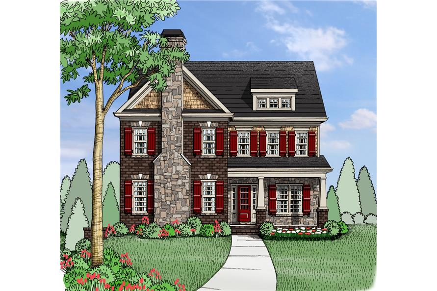 Front elevation of Southern home (ThePlanCollection: House Plan #104-1201)