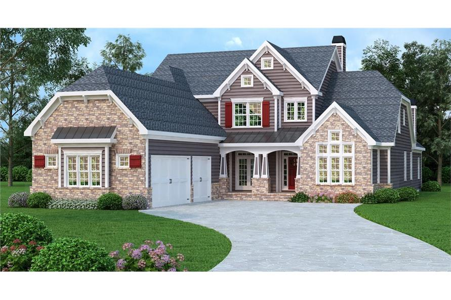 Front elevation of Luxury home (ThePlanCollection: House Plan #104-1204)