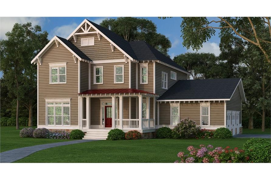 Front elevation of Country home (ThePlanCollection: House Plan #104-1205)