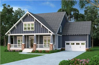 Front elevation of Craftsman home (ThePlanCollection: House Plan #104-1210)