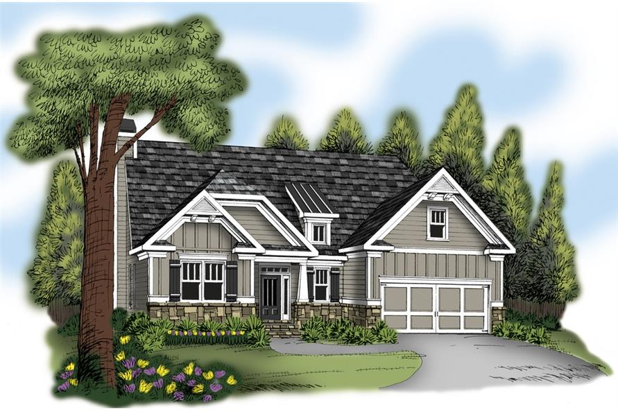 Front elevation of Craftsman home (ThePlanCollection: House Plan #104-1213)