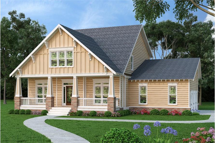 Front elevation of Craftsman home (ThePlanCollection: House Plan #104-1214)