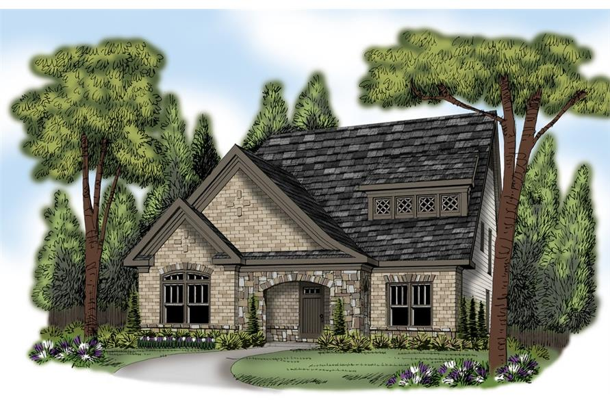 Front elevation of European home (ThePlanCollection: House Plan #104-1215)