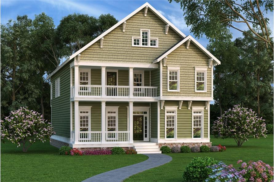 Front elevation of Coastal home (ThePlanCollection: House Plan #104-1217)