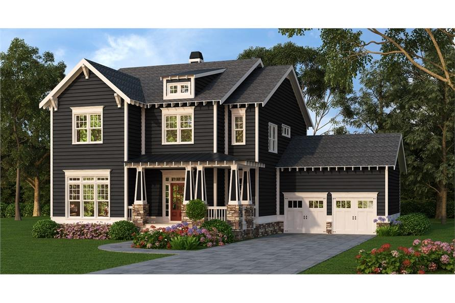 Front elevation of Craftsman home (ThePlanCollection: House Plan #104-1218)