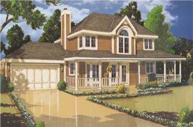 3-Bedroom, 1522 Sq Ft Country Home Plan - 105-1004 - Main Exterior