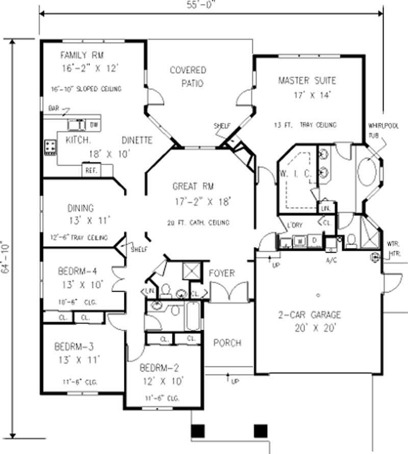 European ranch home with 4 bdrms 2266 sq ft floor for 105 plan