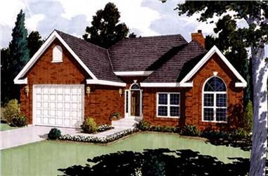 3-Bedroom, 1513 Sq Ft French Home Plan - 105-1010 - Main Exterior