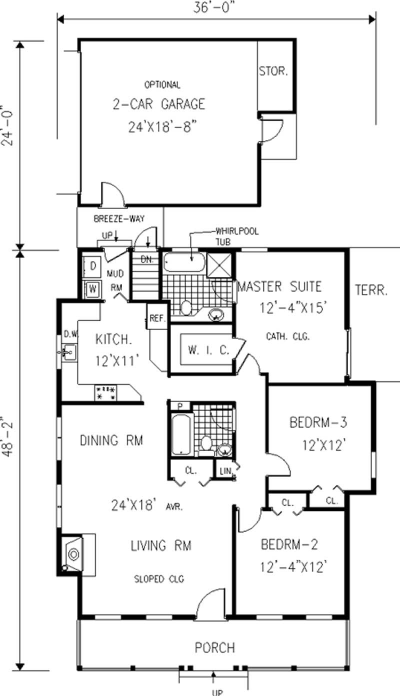 Country small home with 3 bdrms 1409 sq ft house plan for 105 plan