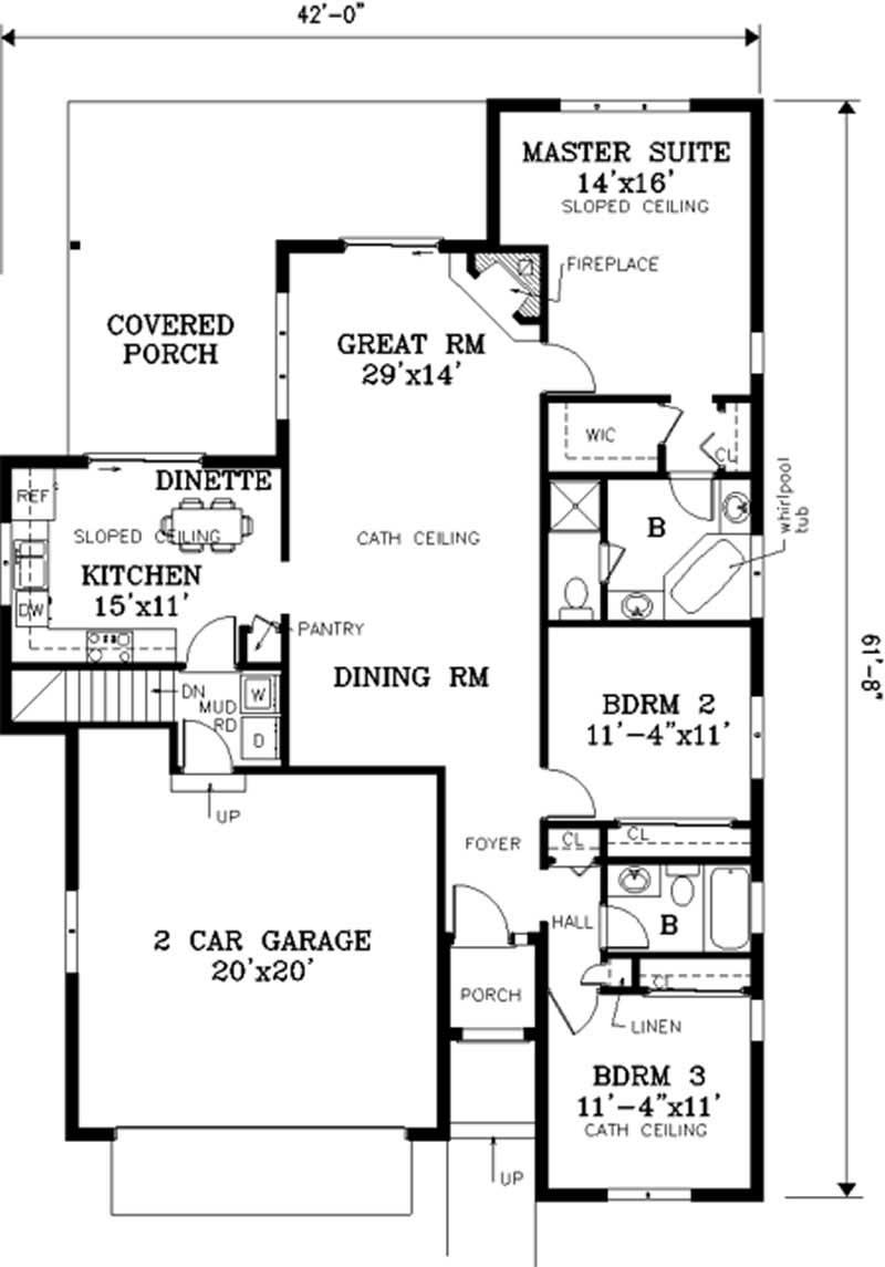 Ranch floor plan 3 bedrms 2 baths 1503 sq ft 105 1021 for 105 plan