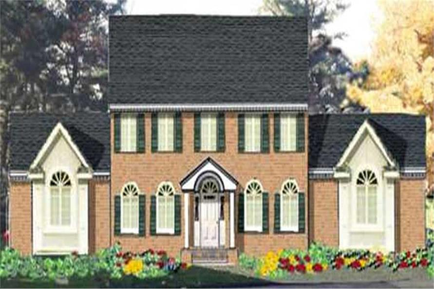 4-Bedroom, 2256 Sq Ft Colonial Home Plan - 105-1022 - Main Exterior