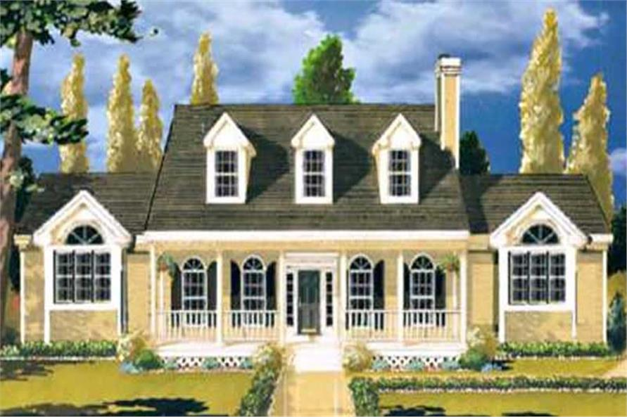 3-Bedroom, 1759 Sq Ft Colonial Home Plan - 105-1026 - Main Exterior