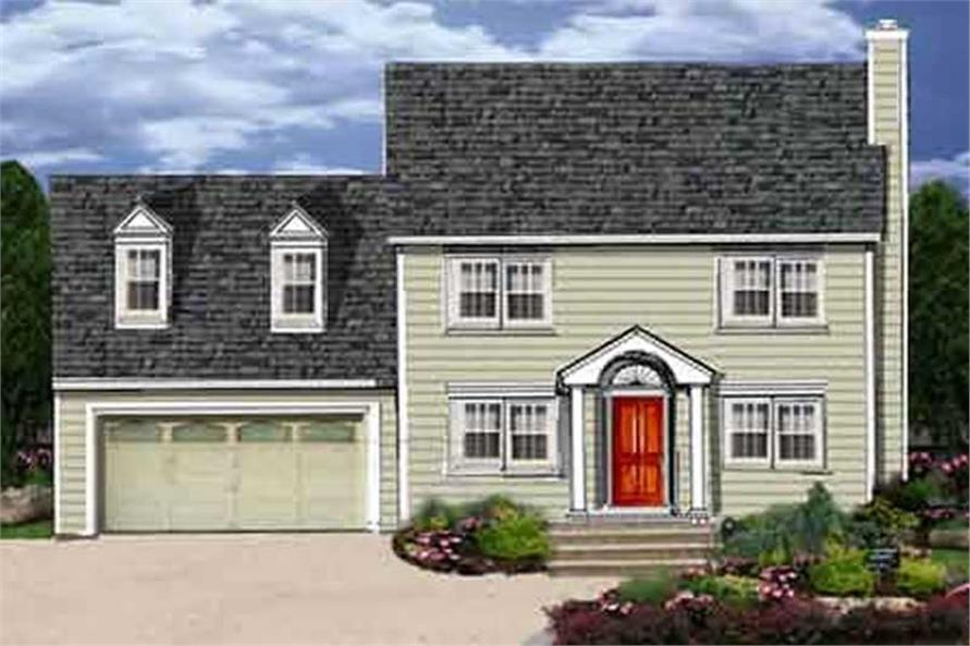 3-Bedroom, 1681 Sq Ft Colonial House Plan - 105-1027 - Front Exterior