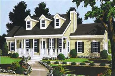 3-Bedroom, 1446 Sq Ft Country Home Plan - 105-1028 - Main Exterior