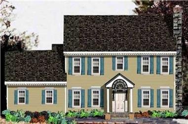 4-Bedroom, 2519 Sq Ft Colonial Home Plan - 105-1033 - Main Exterior