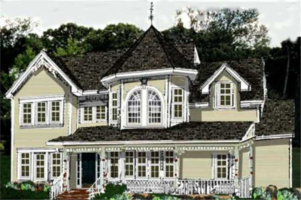 Front elevation of Victorian home (ThePlanCollection: House Plan #105-1045)