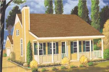 3-Bedroom, 1345 Sq Ft Country Home Plan - 105-1048 - Main Exterior