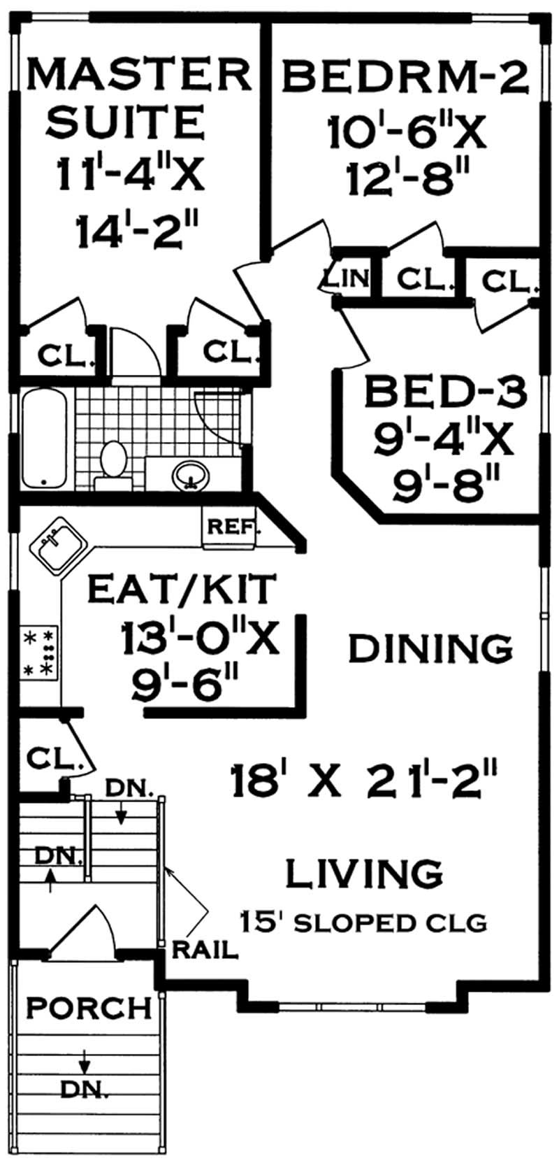 Specialty small home with 5 bdrms 1906 sq ft house for 105 plan