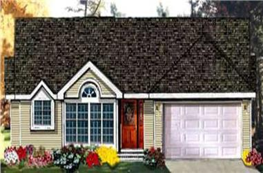 3-Bedroom, 1527 Sq Ft Ranch Home Plan - 105-1058 - Main Exterior