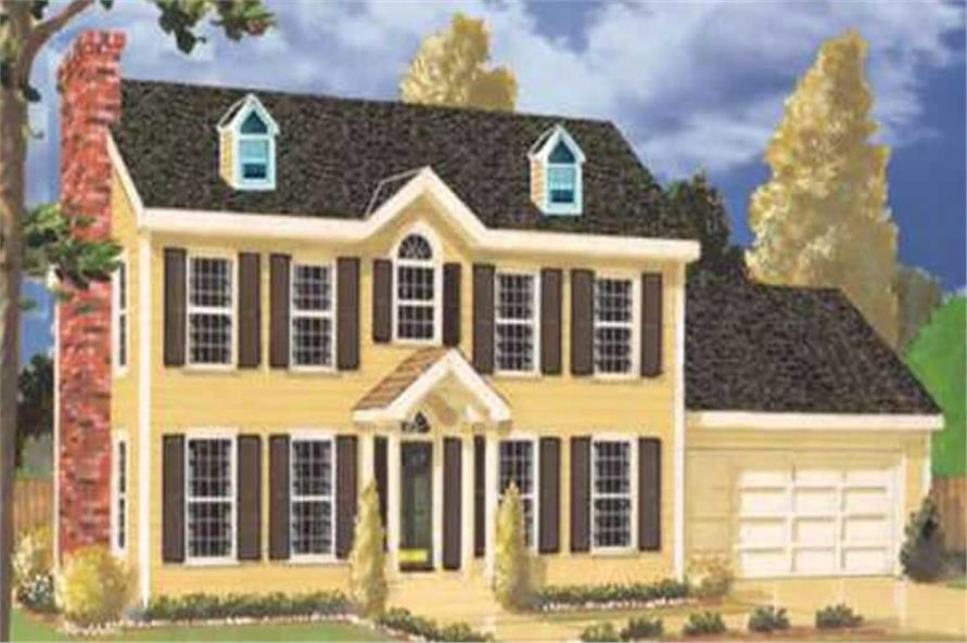 4-Bedroom, 2141 Sq Ft Colonial Home Plan - 105-1061 - Main Exterior