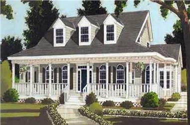 Front elevation of Colonial home (ThePlanCollection: House Plan #105-1068)