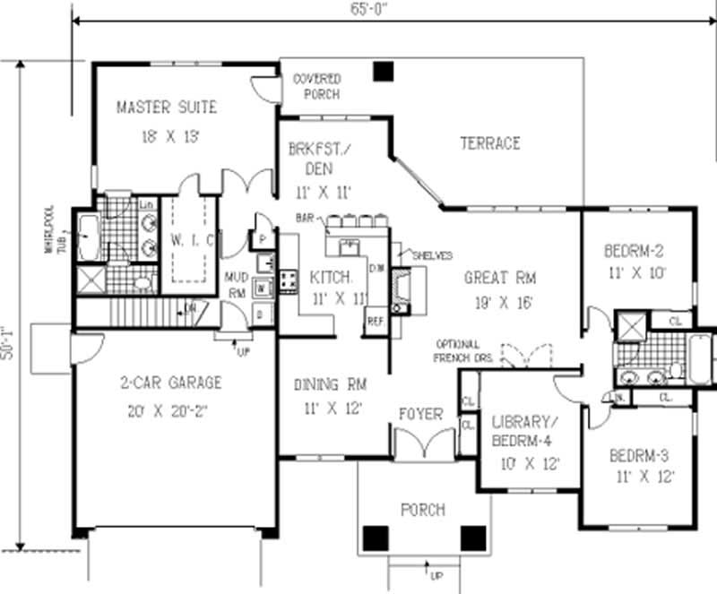 European ranch home with 3 bdrms 1816 sq ft floor for How much is 1100 square feet