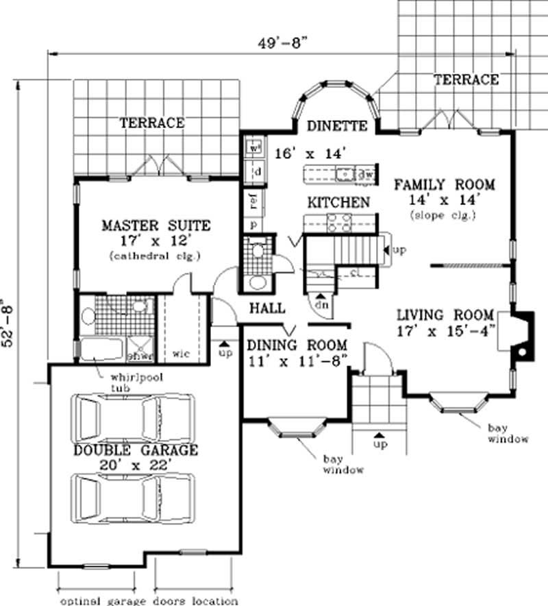 French Small Home With 4 Bdrms 1740 Sq Ft Floor Plan