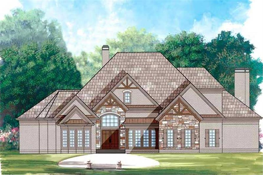 House Plans AR-4093 color front elevation.