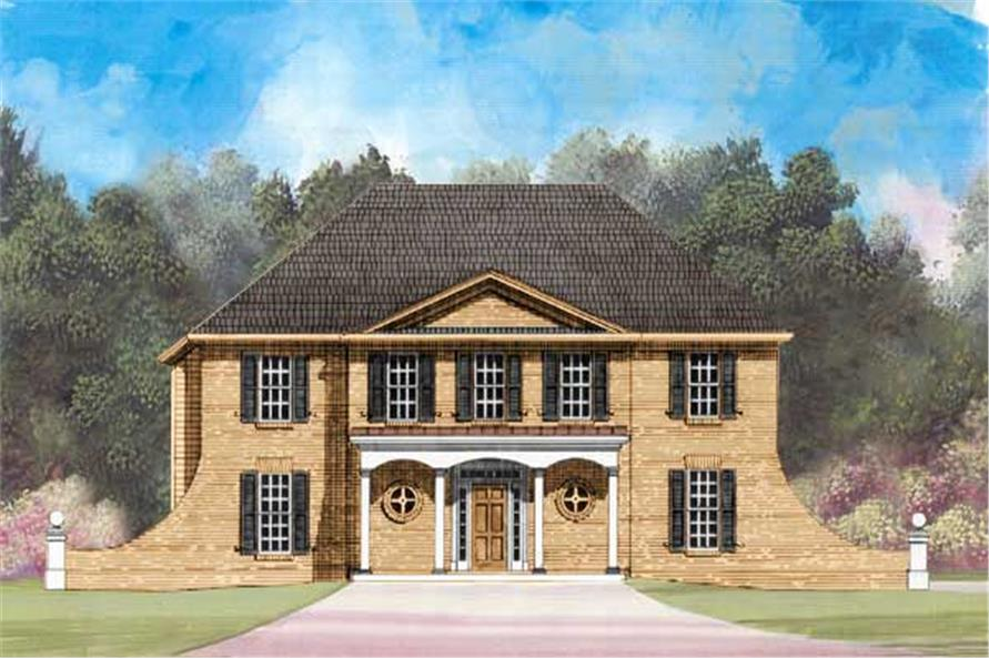 This is the colored front elevation for this European Home.