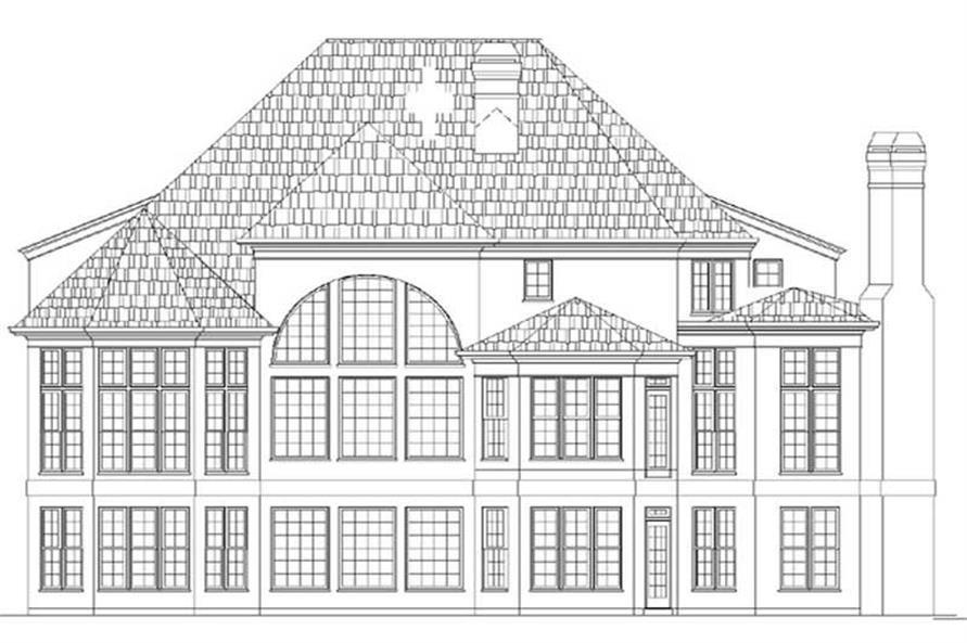 Home Plan Rear Elevation of this 4-Bedroom,3244 Sq Ft Plan -106-1006