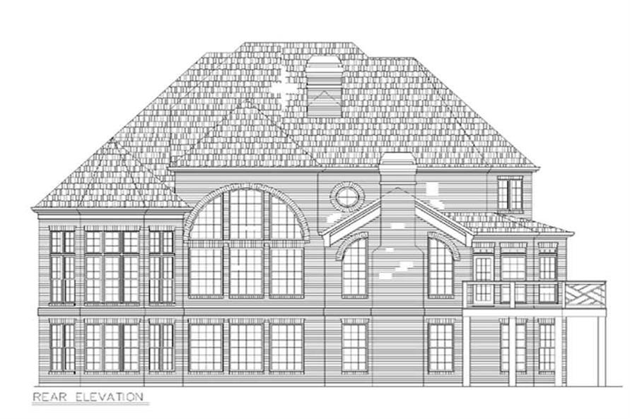 Home Plan Rear Elevation of this 4-Bedroom,3256 Sq Ft Plan -106-1008