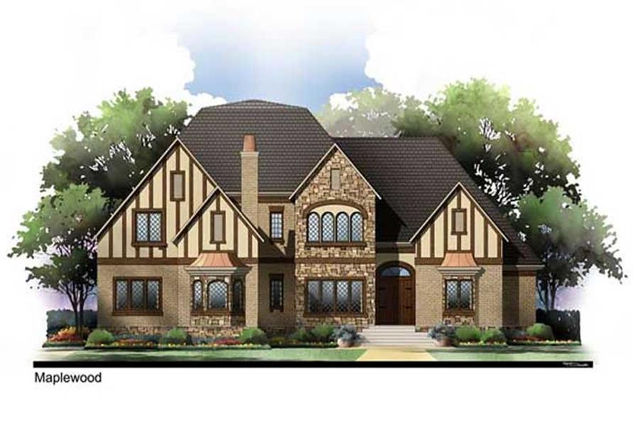European House Plans AR-2964 color rendering.