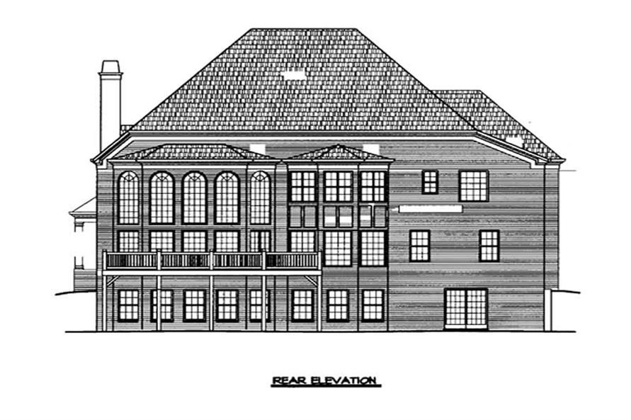 Home Plan Rear Elevation of this 5-Bedroom,4326 Sq Ft Plan -106-1013