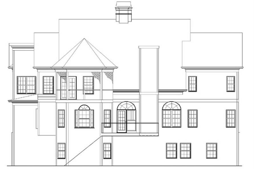 Home Plan Rear Elevation of this 5-Bedroom,3254 Sq Ft Plan -106-1017