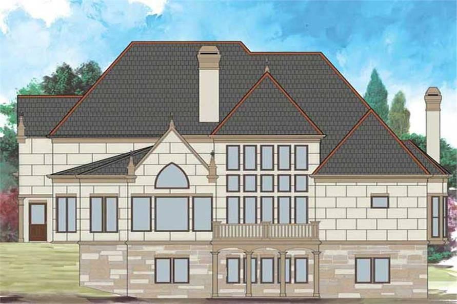 Home Plan Rear Elevation of this 4-Bedroom,3143 Sq Ft Plan -106-1020