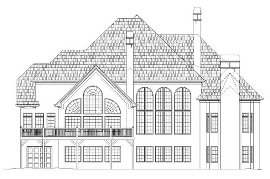 Home Plan Rear Elevation of this 4-Bedroom,4214 Sq Ft Plan -106-1022