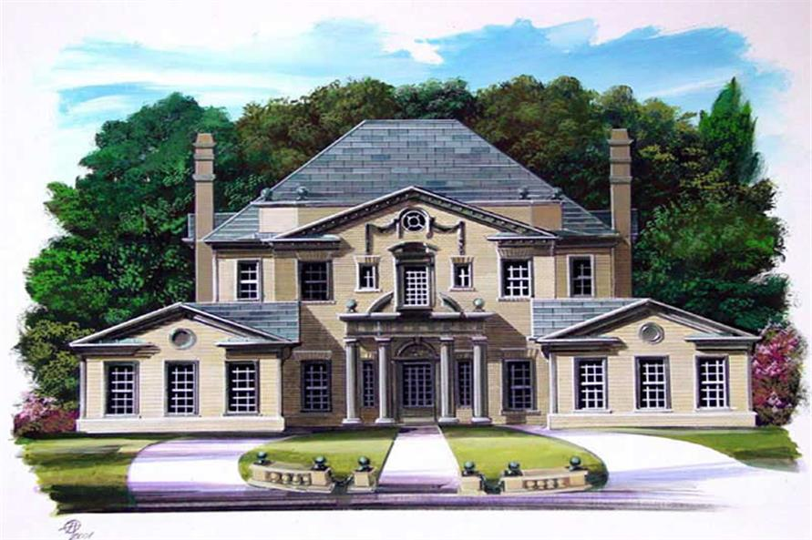 4-Bedroom, 3270 Sq Ft European House Plan - 106-1028 - Front Exterior