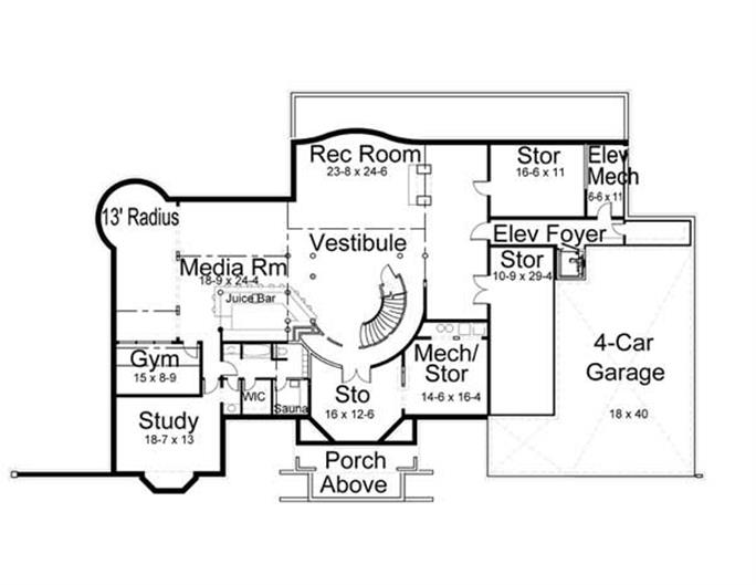 House Plan #106-1031 : 5 Bedroom, 7802