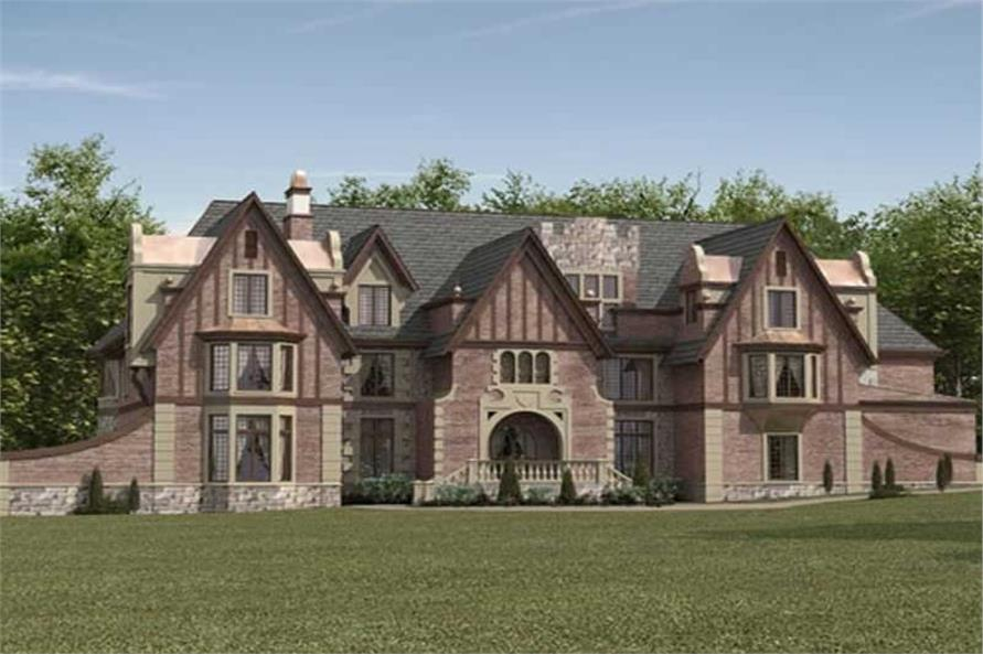 5-Bedroom, 7802 Sq Ft European Castle Plan - 106-1031 - Front Exterior