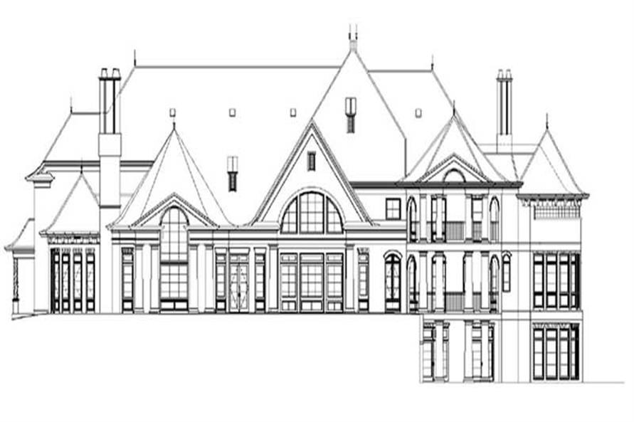 Home Plan Rear Elevation of this 5-Bedroom,8280 Sq Ft Plan -106-1032