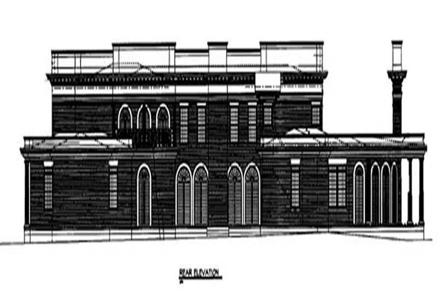 Home Plan Rear Elevation of this 4-Bedroom,8868 Sq Ft Plan -106-1036